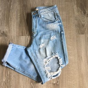 Forever 21 Distressed High Waisted Boyfriend Jeans